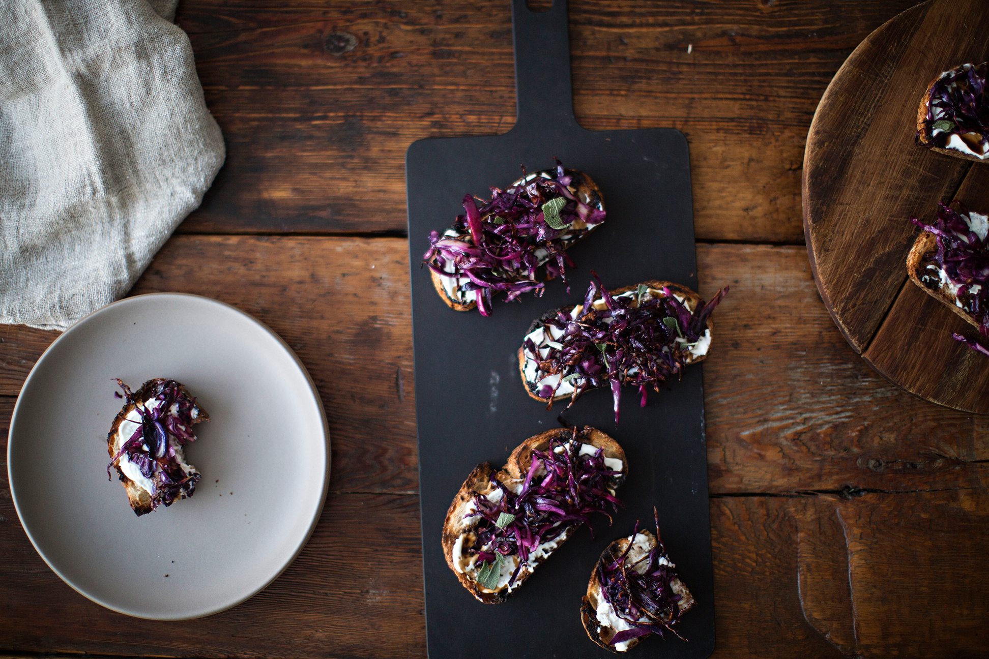 Crostini with Creme Fraiche and Purple Cabbage